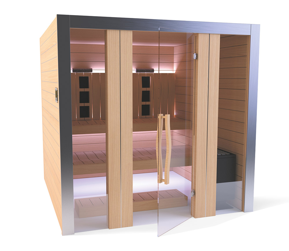 ROYALE sauna - maksimāli mobīls, moderns un funkcionāls dizains ļauj baudīt tvaikotu un infrasarkana savienojuma vannas