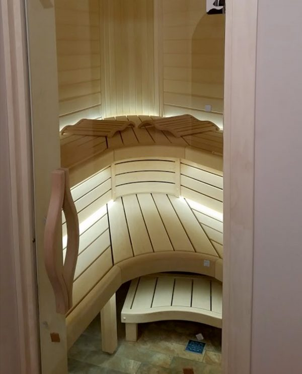 Luxe, ergonomische hoofdsteun voor de banya/sauna